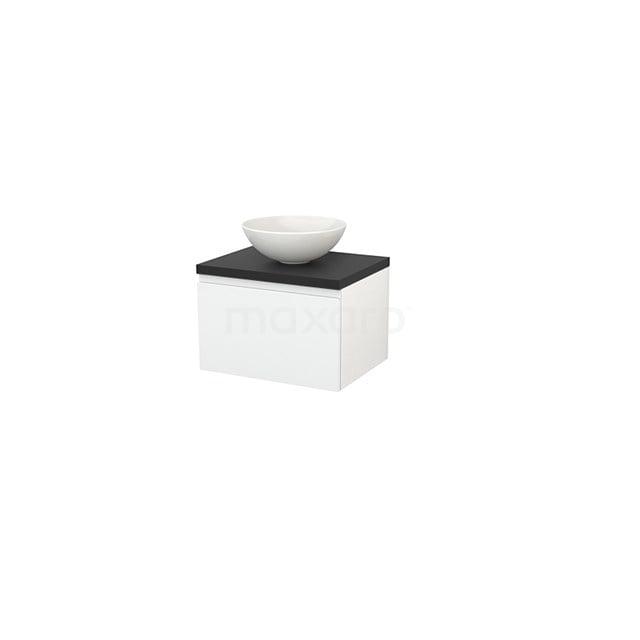 Badkamermeubel voor Waskom 60cm Hoogglans Wit Greeploos Modulo+ Plato Carbon Blad BMK001020