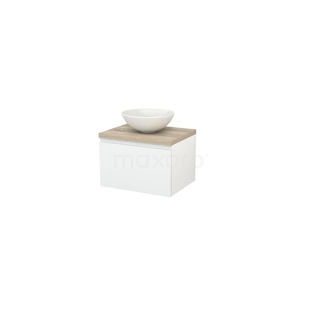 Badkamermeubel voor Waskom 60cm Hoogglans Wit Greeploos Modulo+ Plato Eiken Blad BMK001021