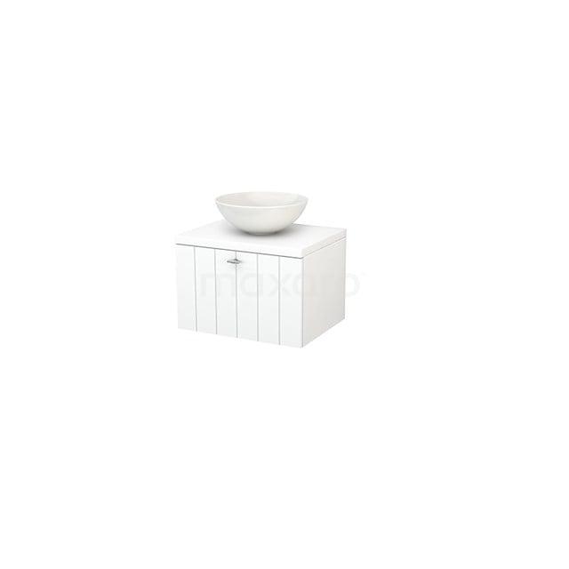 Badkamermeubel voor Waskom 60cm Modulo+ Plato Mat Wit 1 Lade Lamel BMK001030