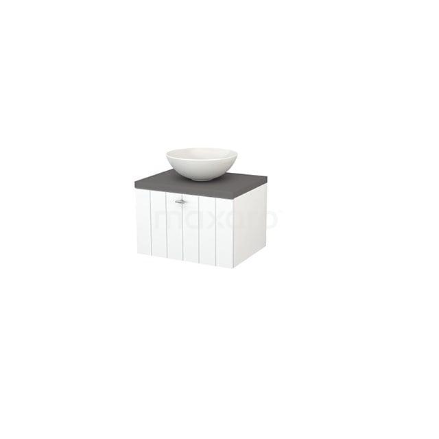 Badkamermeubel voor Waskom 60cm Mat Wit Lamel Modulo+ Plato Basalt Blad BMK001031