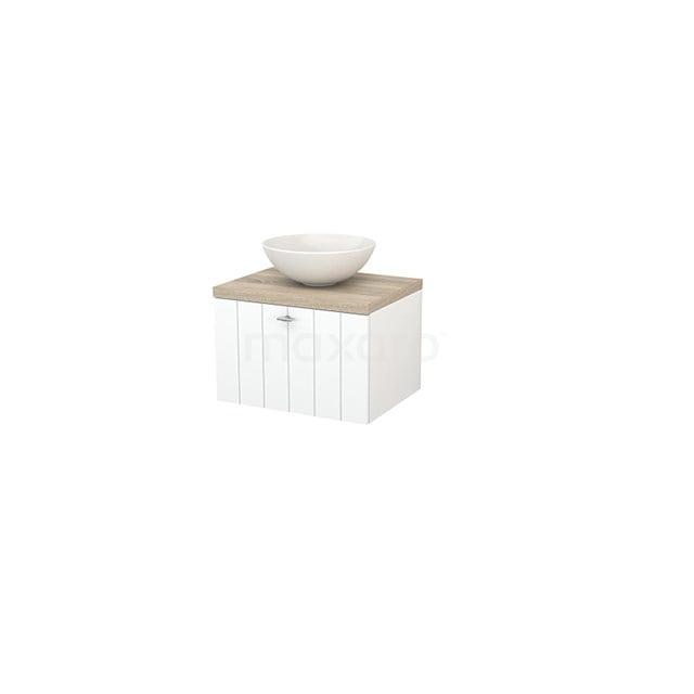 Badkamermeubel voor Waskom 60cm Mat Wit Lamel Modulo+ Plato Eiken Blad BMK001033
