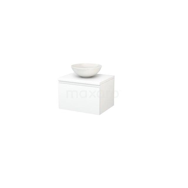 Badkamermeubel voor Waskom 60cm Modulo+ Plato Mat Wit 1 Lade Greeploos BMK001042