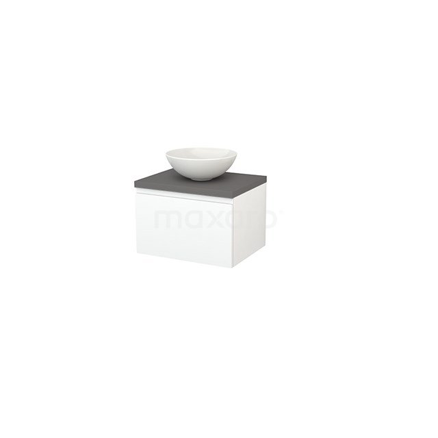 Badkamermeubel voor Waskom 60cm Mat Wit Greeploos Modulo+ Plato Basalt Blad BMK001043