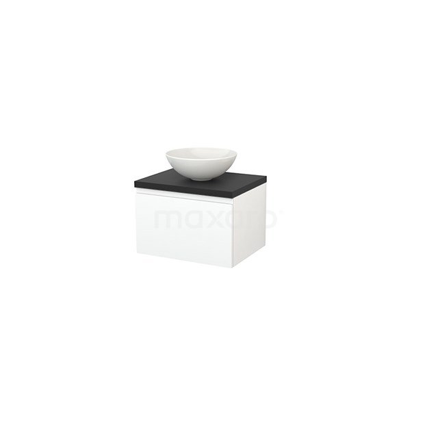 Badkamermeubel voor Waskom 60cm Mat Wit Greeploos Modulo+ Plato Carbon Blad BMK001044