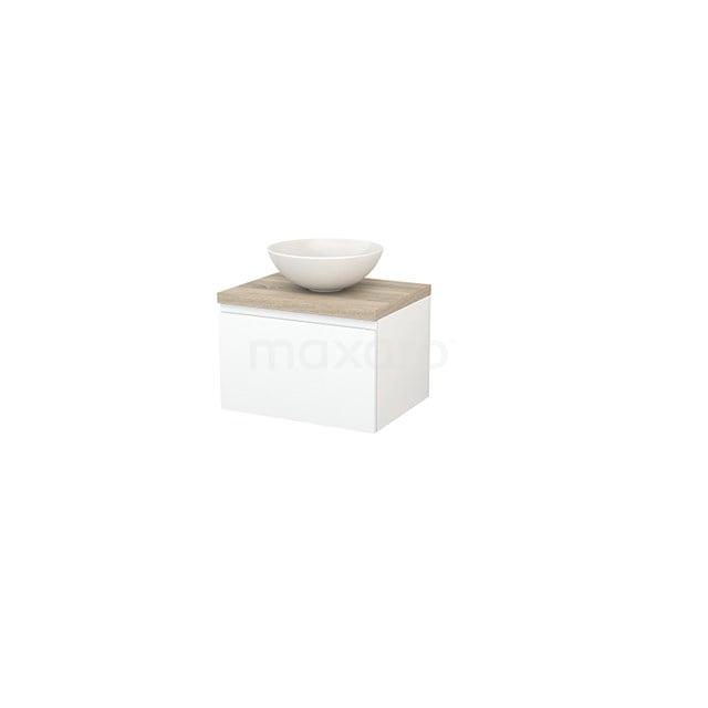 Badkamermeubel voor Waskom 60cm Mat Wit Greeploos Modulo+ Plato Eiken Blad BMK001045