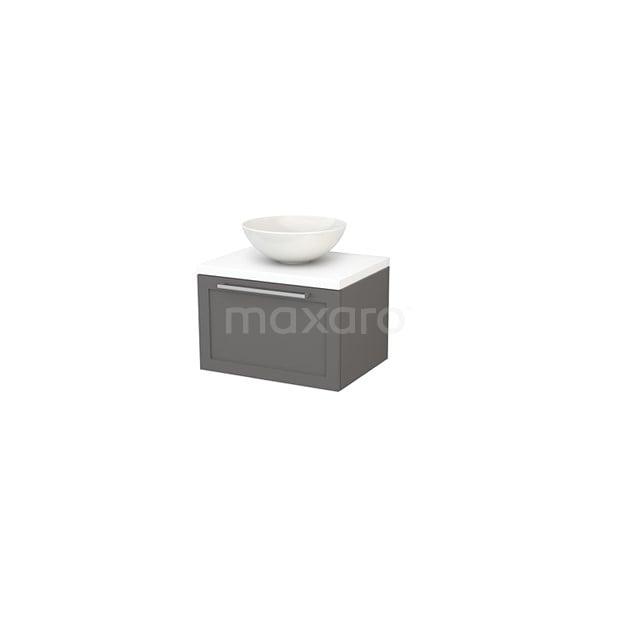 Badkamermeubel voor Waskom 60cm Basalt Kader Modulo+ Plato Mat Wit Blad BMK001054