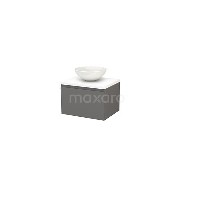 Badkamermeubel voor Waskom 60cm Basalt Greeploos Modulo+ Plato Hoogglans Wit Blad BMK001058