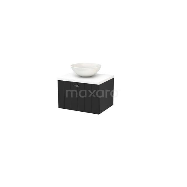 Badkamermeubel voor Waskom 60cm Carbon Lamel Modulo+ Plato Hoogglans Wit Blad BMK001064