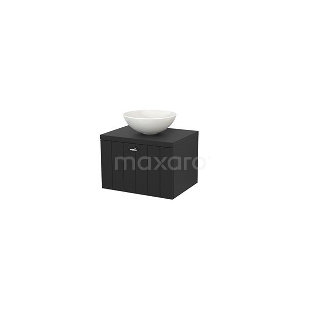 Badkamermeubel voor Waskom 60cm Modulo+ Plato Carbon 1 Lade Lamel BMK001065