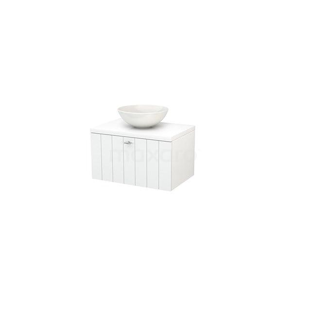 Badkamermeubel voor Waskom 70cm Modulo+ Plato Hoogglans Wit 1 Lade Lamel BMK001096