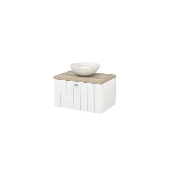 Badkamermeubel voor Waskom 70cm Hoogglans Wit Lamel Modulo+ Plato Eiken Blad BMK001099
