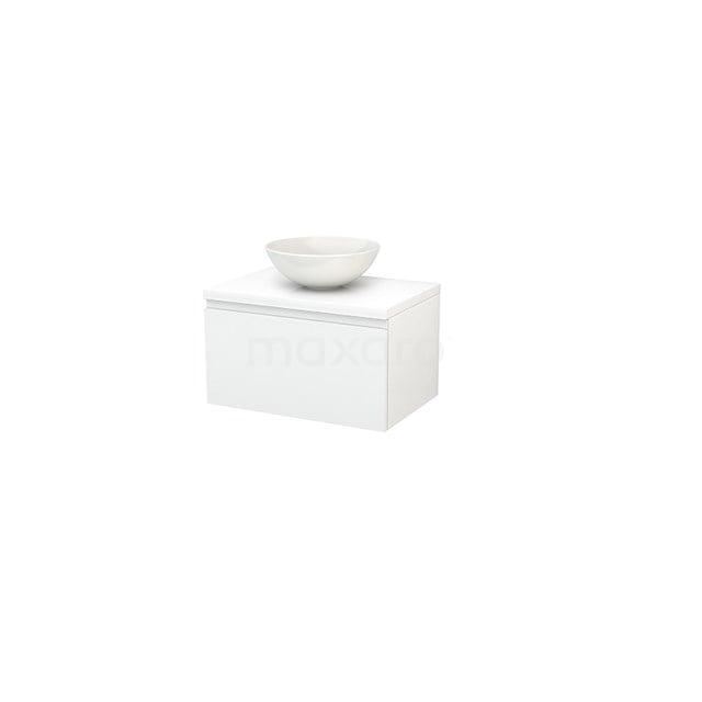 Badkamermeubel voor Waskom 70cm Modulo+ Plato Hoogglans Wit 1 Lade Greeploos BMK001108