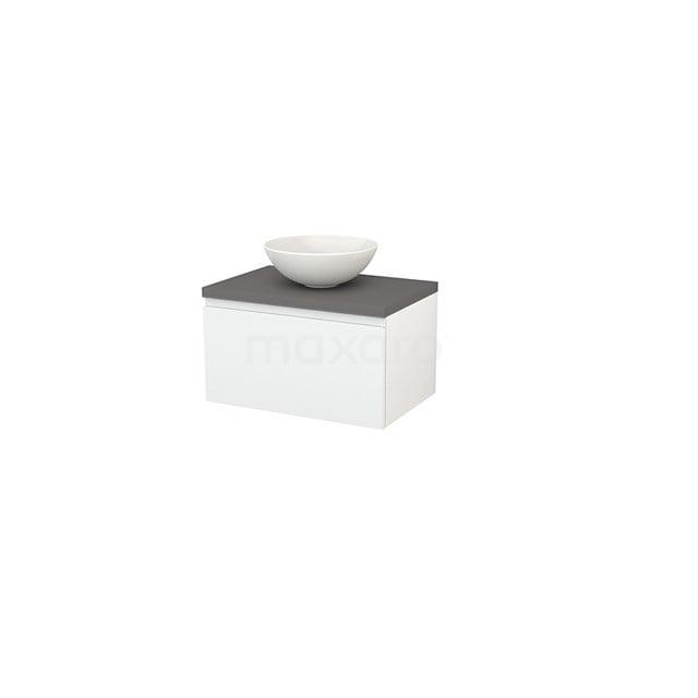 Badkamermeubel voor Waskom 70cm Hoogglans Wit Greeploos Modulo+ Plato Basalt Blad BMK001109