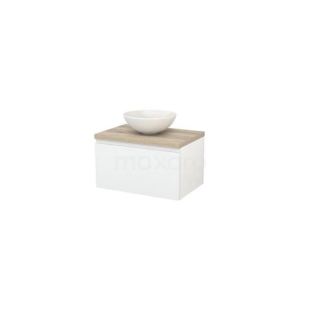 Badkamermeubel voor Waskom 70cm Hoogglans Wit Greeploos Modulo+ Plato Eiken Blad BMK001111