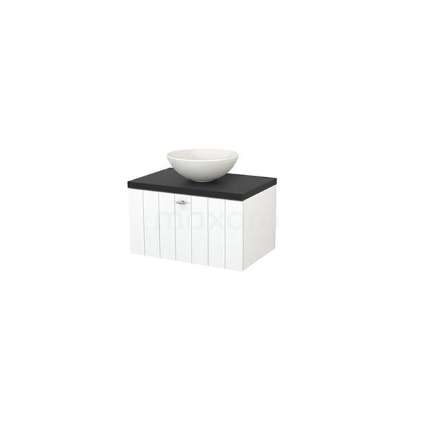 Badkamermeubel voor Waskom 70cm Mat Wit Lamel Modulo+ Plato Carbon Blad BMK001122