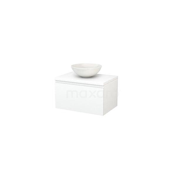 Badkamermeubel voor Waskom 70cm Modulo+ Plato Mat Wit 1 Lade Greeploos BMK001132