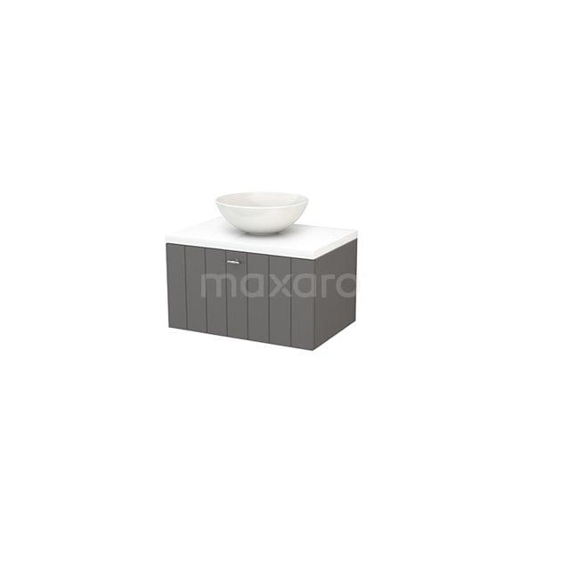 Badkamermeubel voor Waskom 70cm Basalt Lamel Modulo+ Plato Hoogglans Wit Blad BMK001142