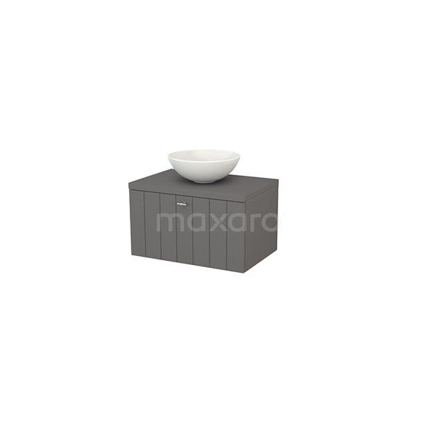 Badkamermeubel voor Waskom 70cm Modulo+ Plato Basalt 1 Lade Lamel BMK001143