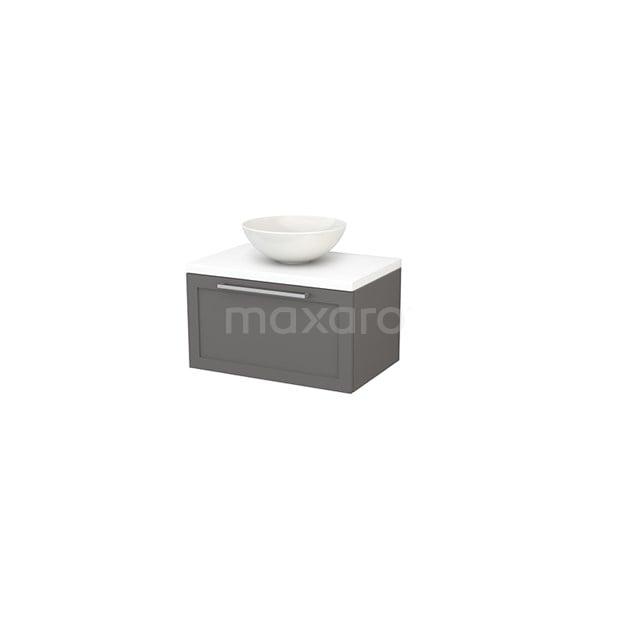 Badkamermeubel voor Waskom 70cm Basalt Kader Modulo+ Plato Mat Wit Blad BMK001144