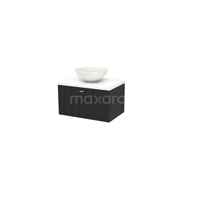 Badkamermeubel voor Waskom 70cm Carbon Lamel Modulo+ Plato Hoogglans Wit Blad BMK001154