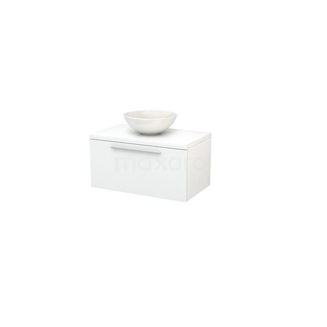 Badkamermeubel voor Waskom 80cm Modulo+ Plato Hoogglans Wit 1 Lade Vlak BMK001180