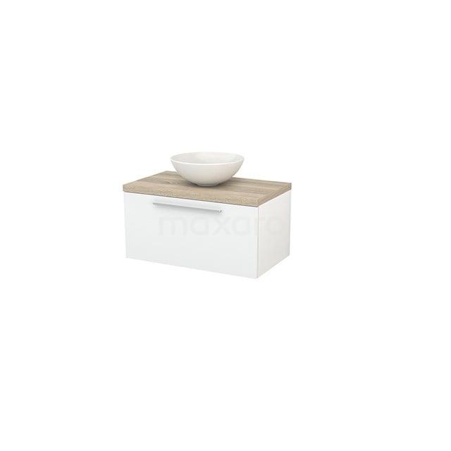 Badkamermeubel voor Waskom 80cm Hoogglans Wit Vlak Modulo+ Plato Eiken Blad BMK001183