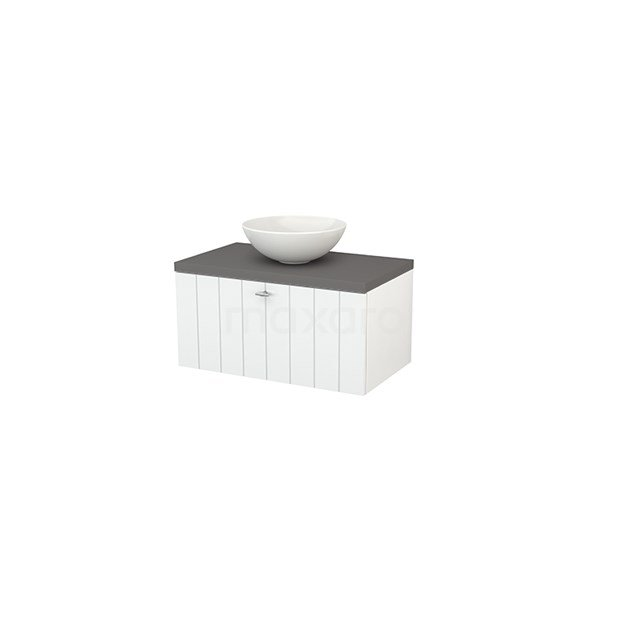 Badkamermeubel voor Waskom 80cm Hoogglans Wit Lamel Modulo+ Plato Basalt Blad BMK001187