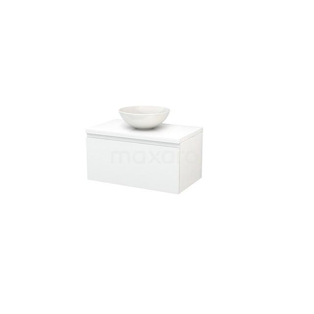 Badkamermeubel voor Waskom 80cm Modulo+ Plato Hoogglans Wit 1 Lade Greeploos BMK001198