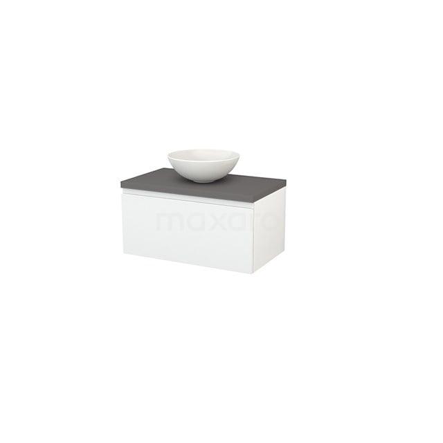 Badkamermeubel voor Waskom 80cm Hoogglans Wit Greeploos Modulo+ Plato Basalt Blad BMK001199