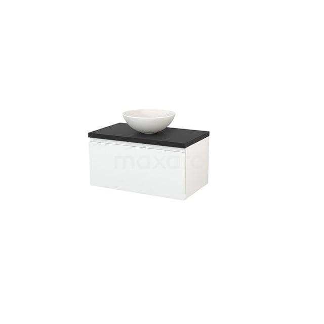 Badkamermeubel voor Waskom 80cm Hoogglans Wit Greeploos Modulo+ Plato Carbon Blad BMK001200