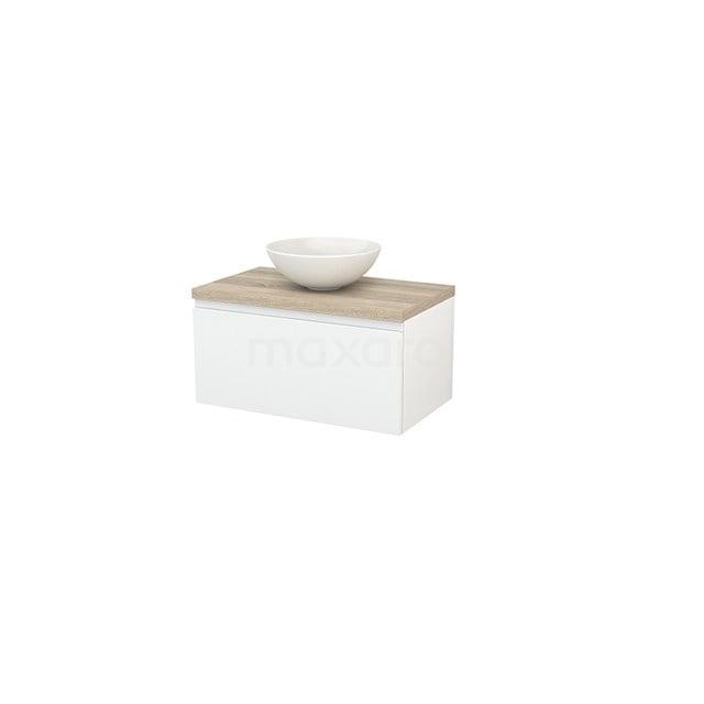 Badkamermeubel voor Waskom 80cm Hoogglans Wit Greeploos Modulo+ Plato Eiken Blad BMK001201