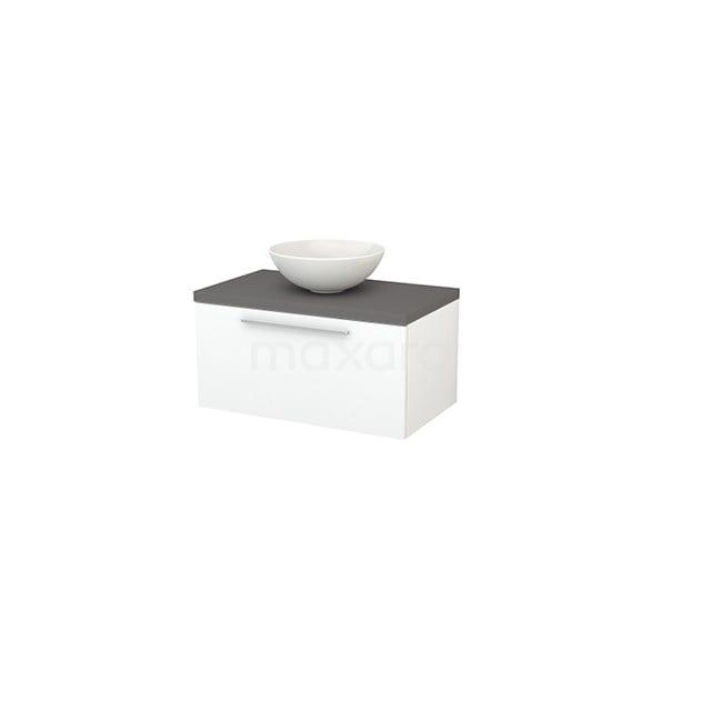 Badkamermeubel voor Waskom 80cm Mat Wit Vlak Modulo+ Plato Basalt Blad BMK001205
