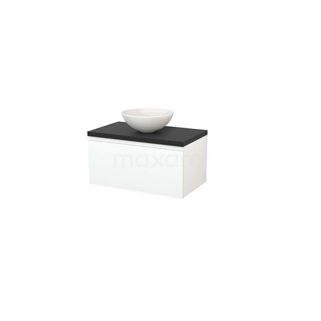 Badkamermeubel voor Waskom 80cm Mat Wit Greeploos Modulo+ Plato Carbon Blad BMK001224