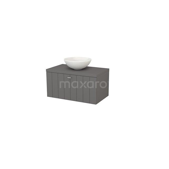 Badkamermeubel voor Waskom 80cm Modulo+ Plato Basalt 1 Lade Lamel BMK001233