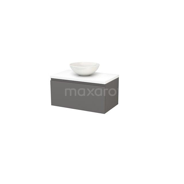 Badkamermeubel voor Waskom 80cm Basalt Greeploos Modulo+ Plato Hoogglans Wit Blad BMK001238