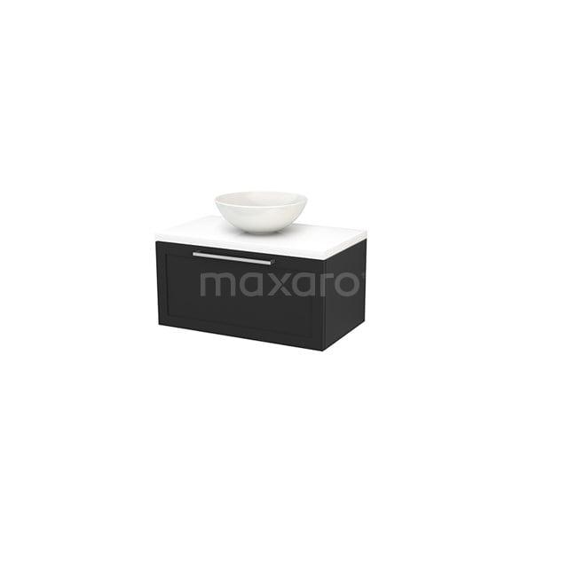Badkamermeubel voor Waskom 80cm Carbon Kader Modulo+ Plato Hoogglans Wit Blad BMK001247