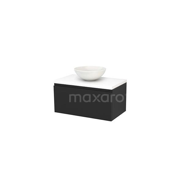 Badkamermeubel voor Waskom 80cm Carbon Greeploos Modulo+ Plato Mat Wit Blad BMK001249