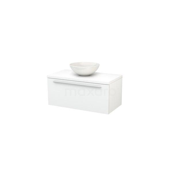 Badkamermeubel voor Waskom 90cm Modulo+ Plato Hoogglans Wit 1 Lade Vlak BMK001270