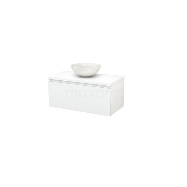 Badkamermeubel voor Waskom 90cm Modulo+ Plato Hoogglans Wit 1 Lade Greeploos BMK001288