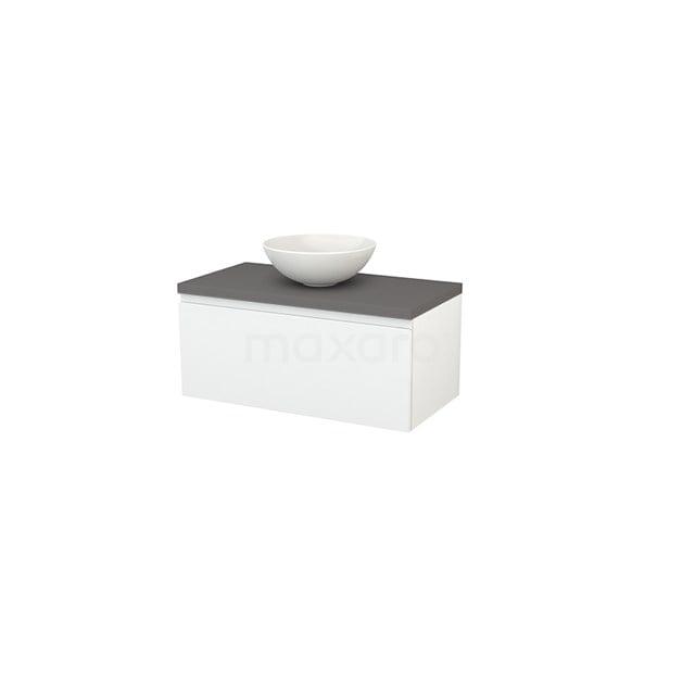 Badkamermeubel voor Waskom 90cm Hoogglans Wit Greeploos Modulo+ Plato Basalt Blad BMK001289