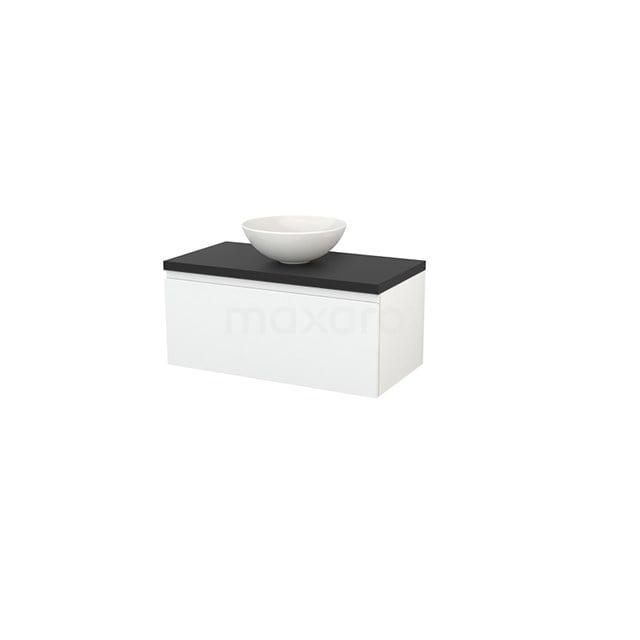Badkamermeubel voor Waskom 90cm Hoogglans Wit Greeploos Modulo+ Plato Carbon Blad BMK001290