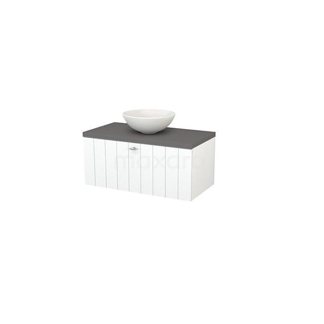 Badkamermeubel voor Waskom 90cm Mat Wit Lamel Modulo+ Plato Basalt Blad BMK001301