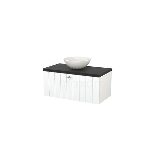 Badkamermeubel voor Waskom 90cm Mat Wit Lamel Modulo+ Plato Carbon Blad BMK001302