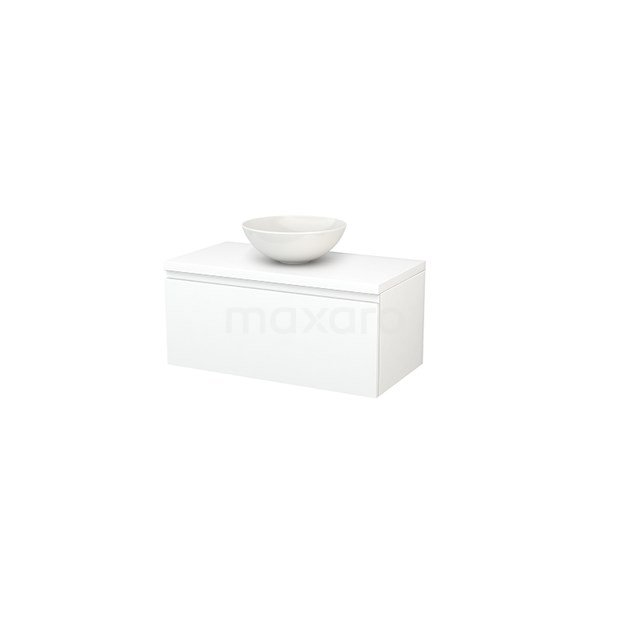 Badkamermeubel voor Waskom 90cm Modulo+ Plato Mat Wit 1 Lade Greeploos BMK001312