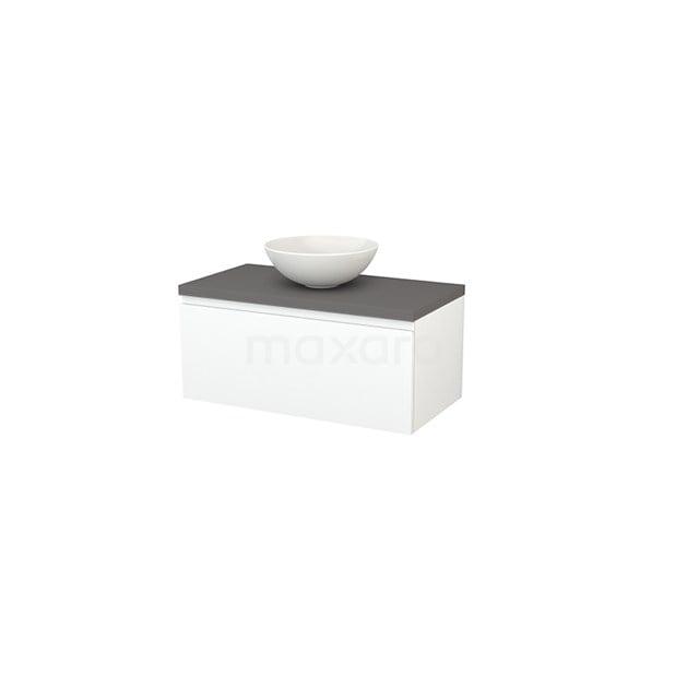 Badkamermeubel voor Waskom 90cm Mat Wit Greeploos Modulo+ Plato Basalt Blad BMK001313