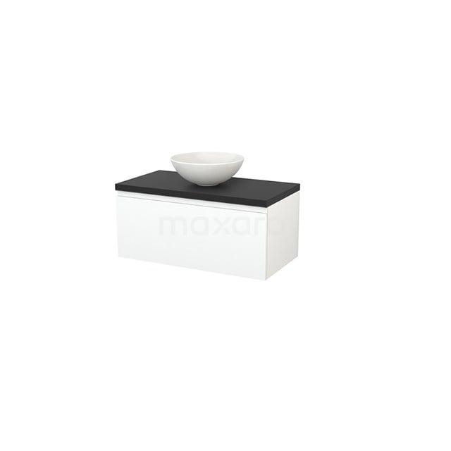Badkamermeubel voor Waskom 90cm Mat Wit Greeploos Modulo+ Plato Carbon Blad BMK001314