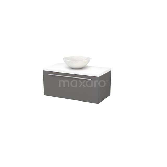 Badkamermeubel voor Waskom 90cm Basalt Vlak Modulo+ Plato Hoogglans Wit Blad BMK001319