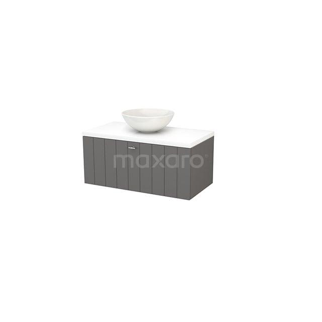 Badkamermeubel voor Waskom 90cm Basalt Lamel Modulo+ Plato Hoogglans Wit Blad BMK001322