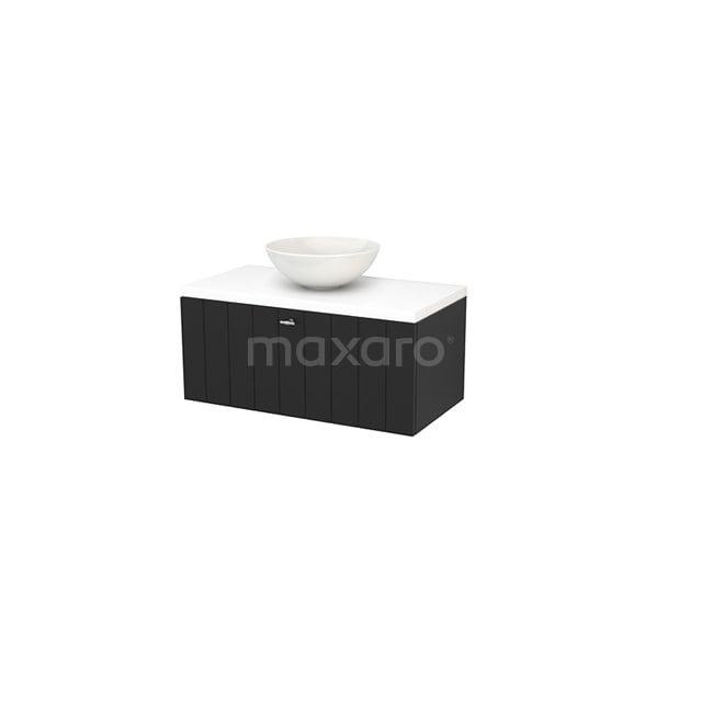 Badkamermeubel voor Waskom 90cm Carbon Lamel Modulo+ Plato Mat Wit Blad BMK001333