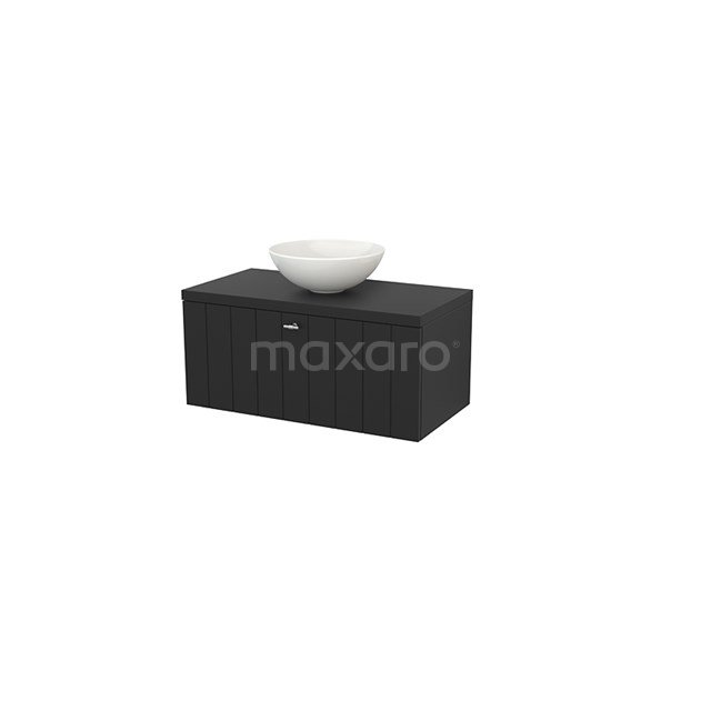 Badkamermeubel voor Waskom 90cm Modulo+ Plato Carbon 1 Lade Lamel BMK001335